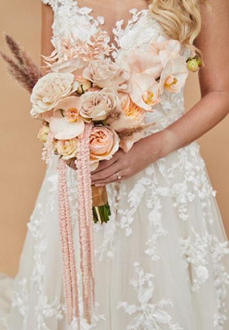 Bruidsboeket peach