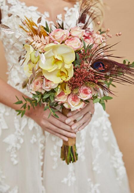 Bruidsboeket-pauwenveer
